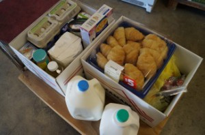 A box of food for a family in need.